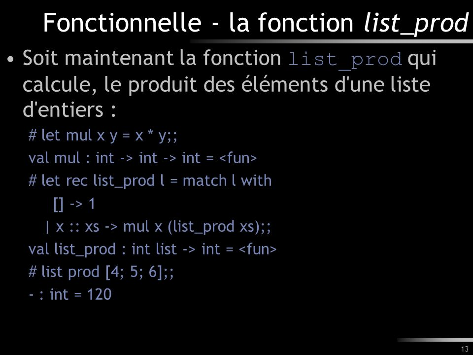 Fonctionnelle - la fonction list_prod