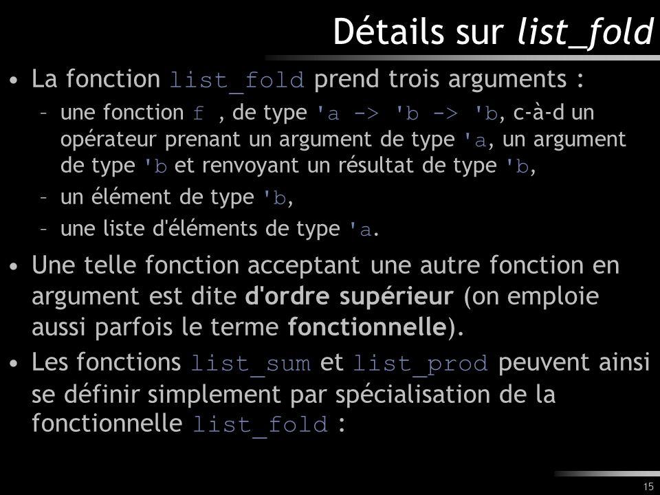 Détails sur list_fold La fonction list_fold prend trois arguments :