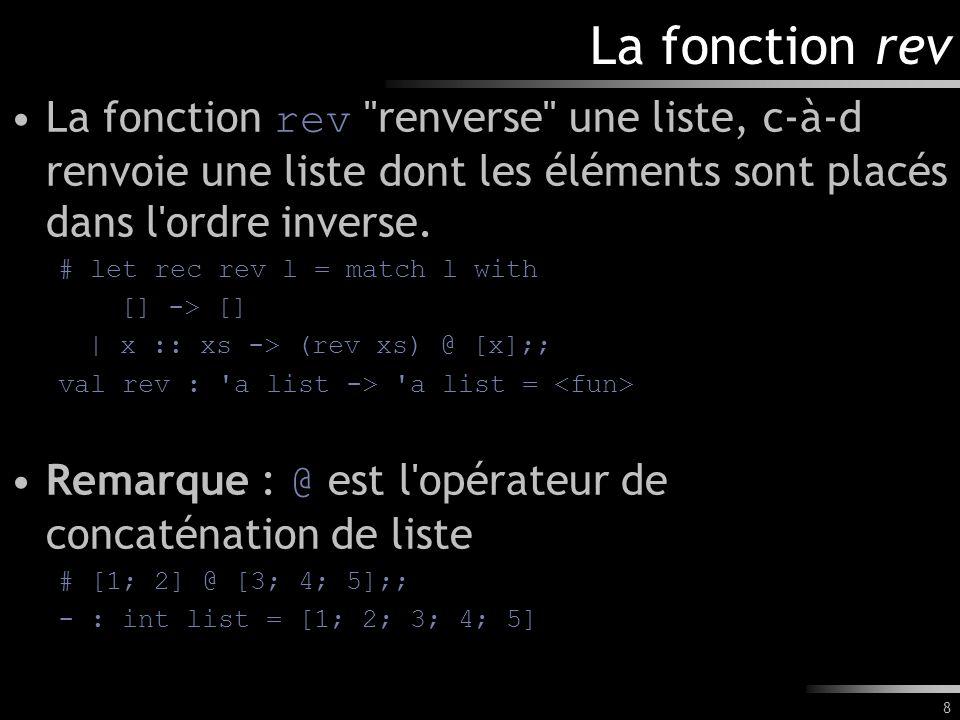 La fonction rev La fonction rev renverse une liste, c-à-d renvoie une liste dont les éléments sont placés dans l ordre inverse.