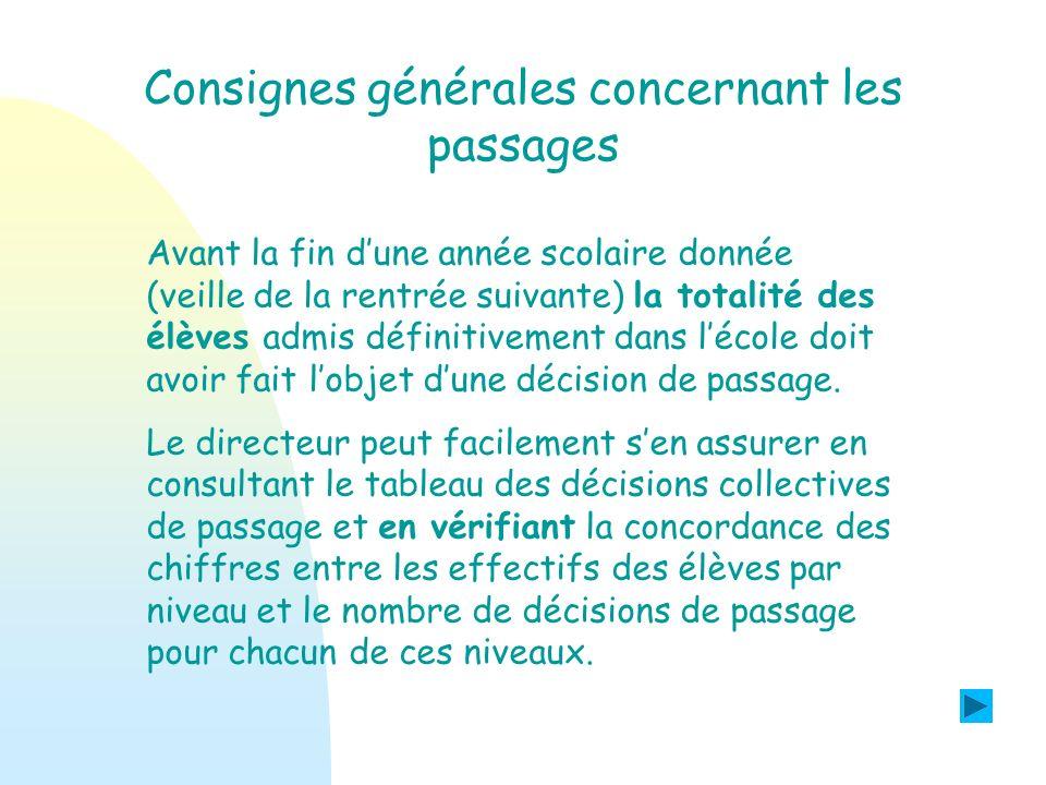 Consignes générales concernant les passages