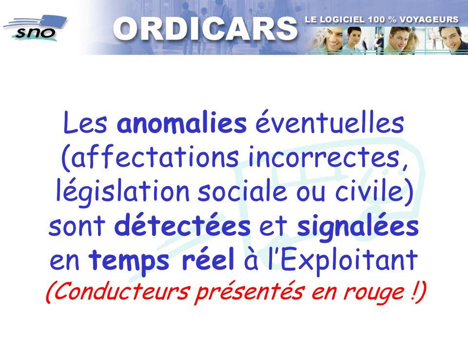Les anomalies éventuelles (affectations incorrectes, législation sociale ou civile) sont détectées et signalées en temps réel à l'Exploitant (Conducteurs présentés en rouge !)