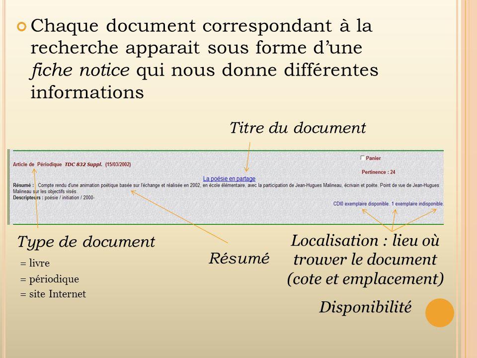 Localisation : lieu où trouver le document (cote et emplacement)