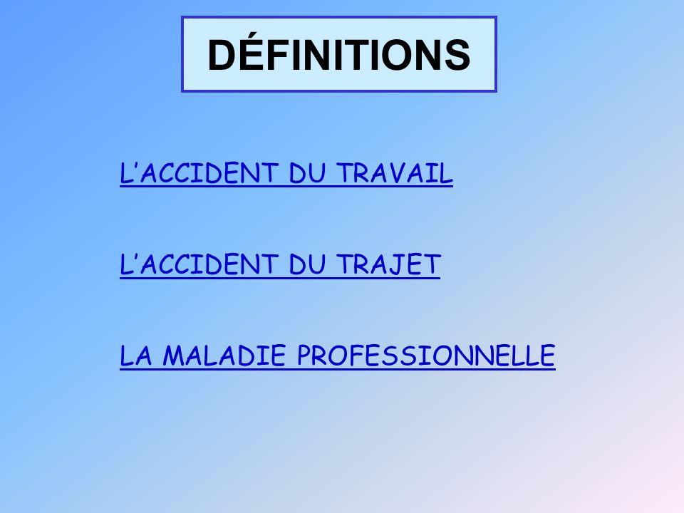 DÉFINITIONS L'ACCIDENT DU TRAVAIL L'ACCIDENT DU TRAJET