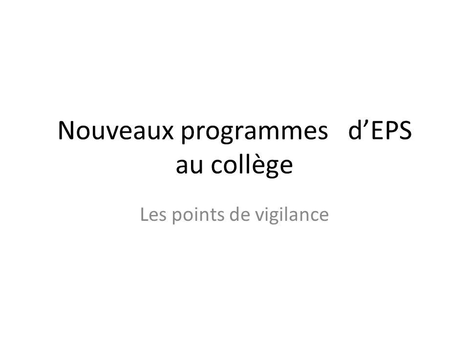 Nouveaux programmes d'EPS au collège
