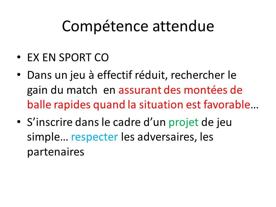 Compétence attendue EX EN SPORT CO