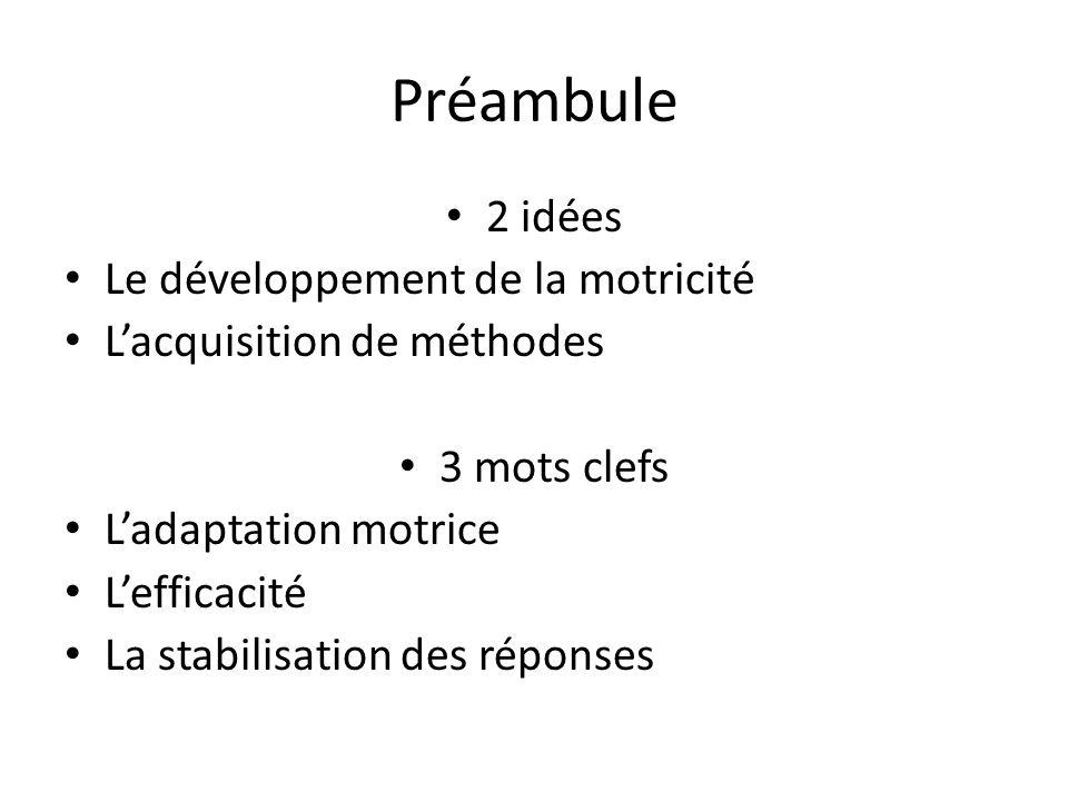 Préambule 2 idées Le développement de la motricité