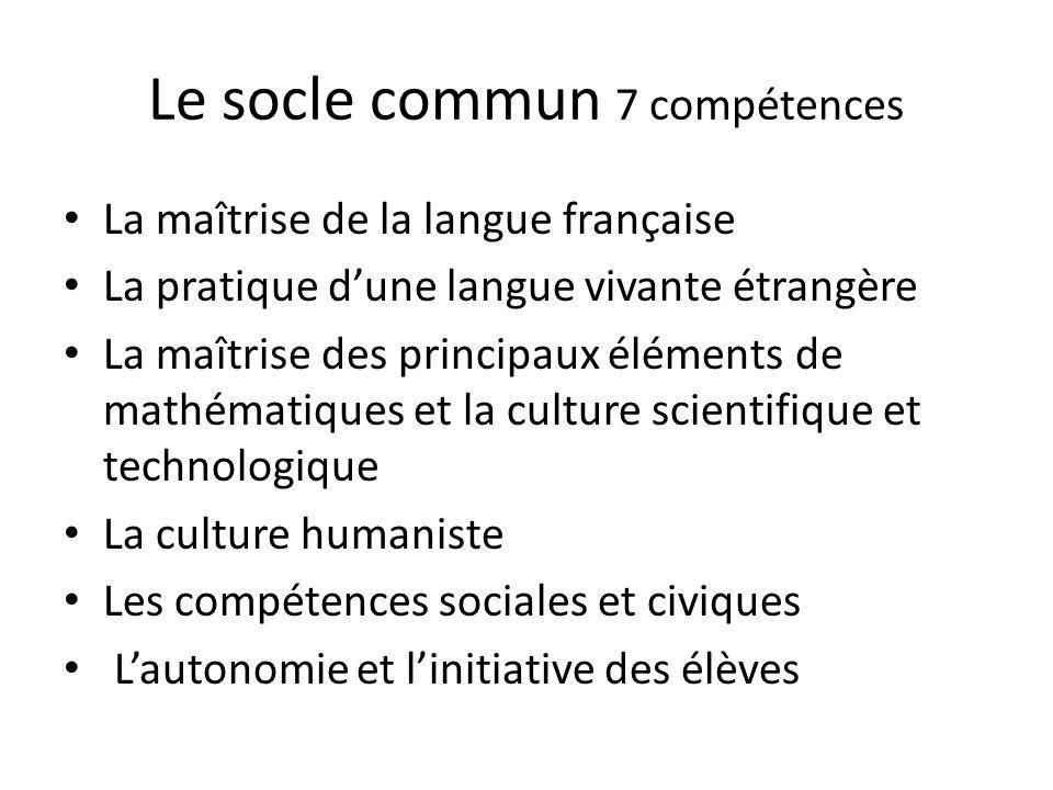 Le socle commun 7 compétences