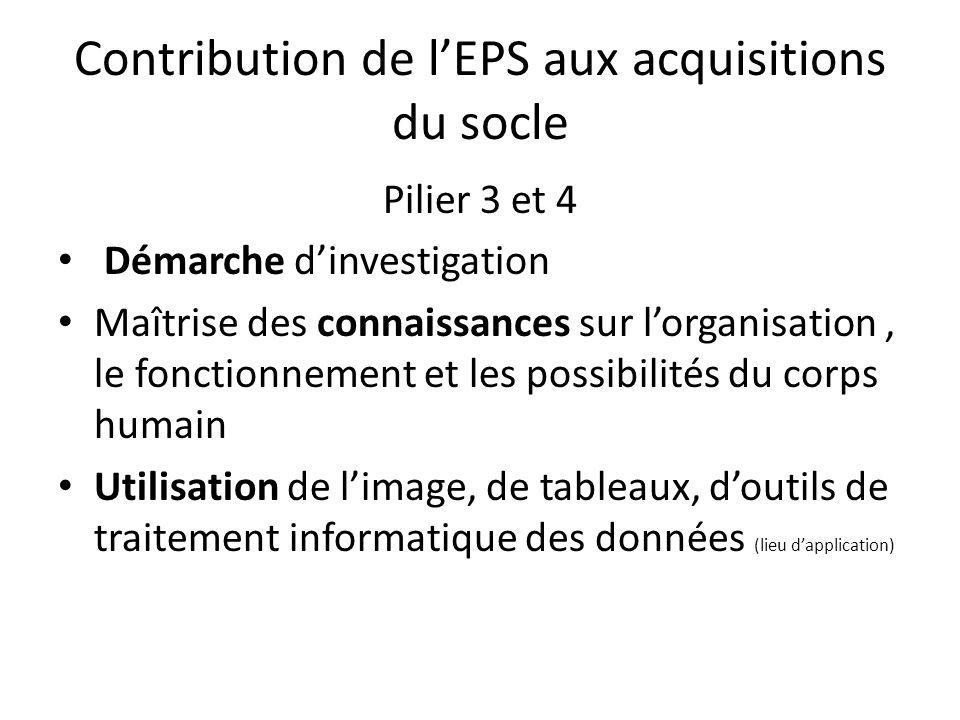 Contribution de l'EPS aux acquisitions du socle