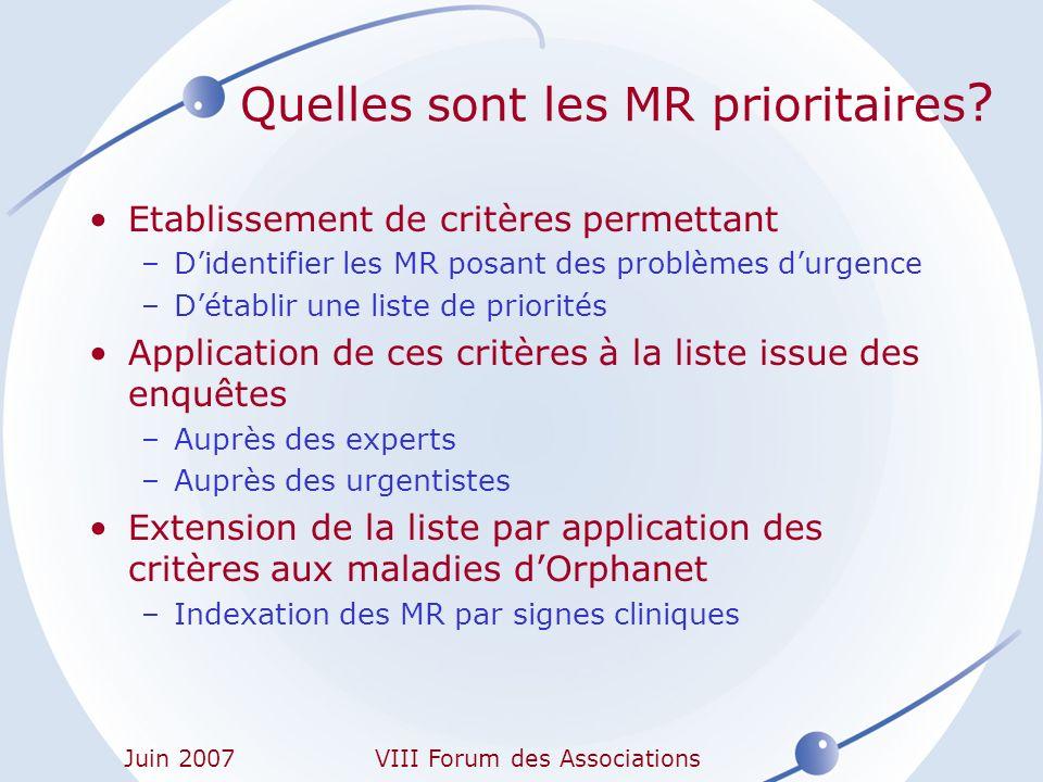 Quelles sont les MR prioritaires