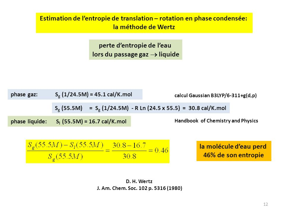 Estimation de l'entropie de translation – rotation en phase condensée: