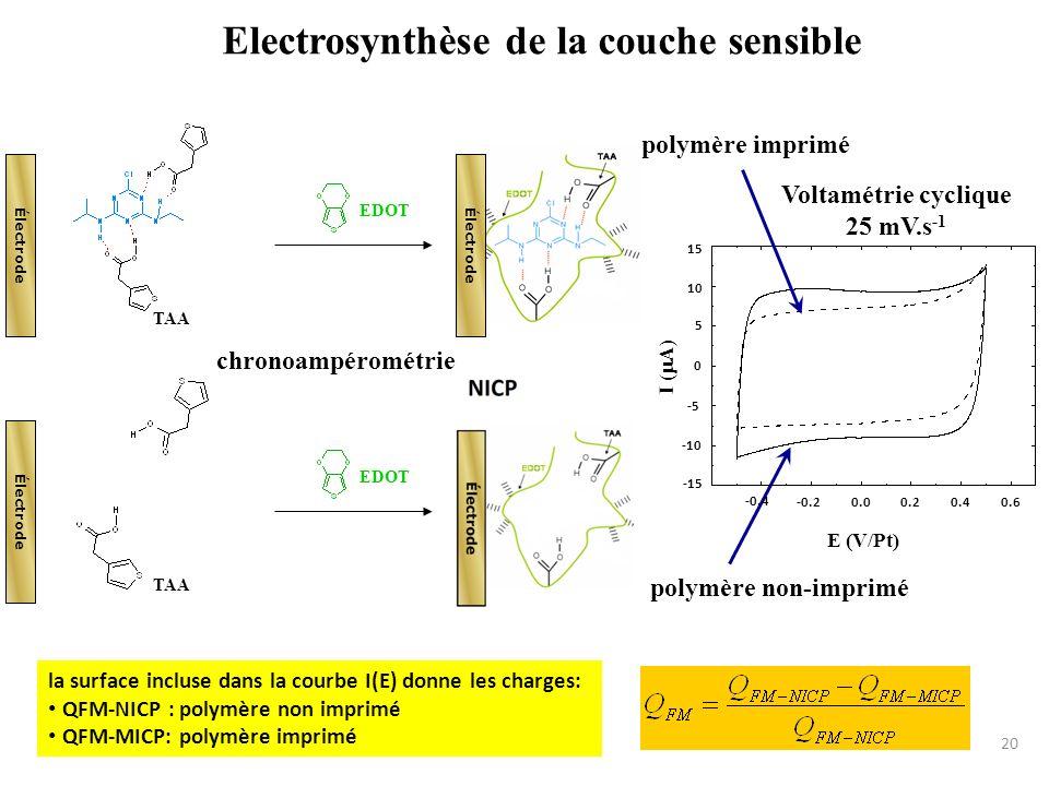 Electrosynthèse de la couche sensible