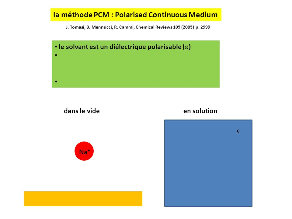 la méthode PCM : Polarised Continuous Medium