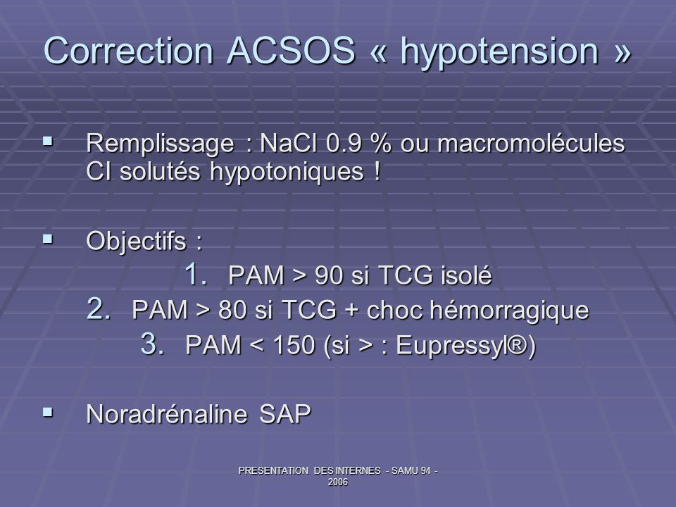 Correction ACSOS « hypotension »