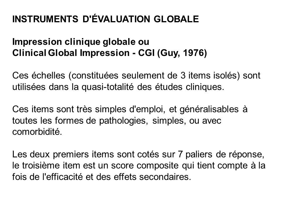 INSTRUMENTS D ÉVALUATION GLOBALE