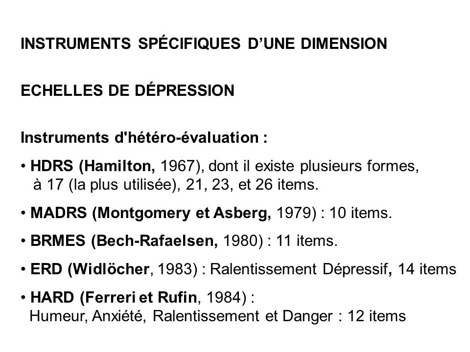 INSTRUMENTS SPÉCIFIQUES D'UNE DIMENSION