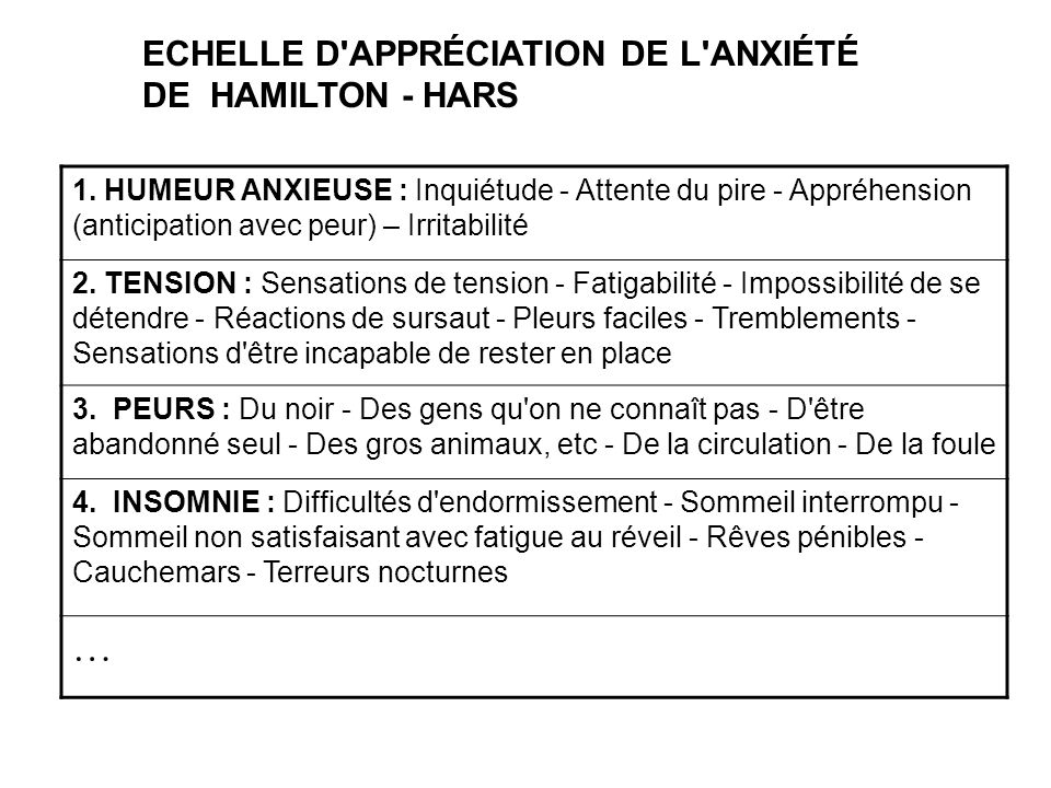 … ECHELLE D APPRÉCIATION DE L ANXIÉTÉ DE HAMILTON - HARS