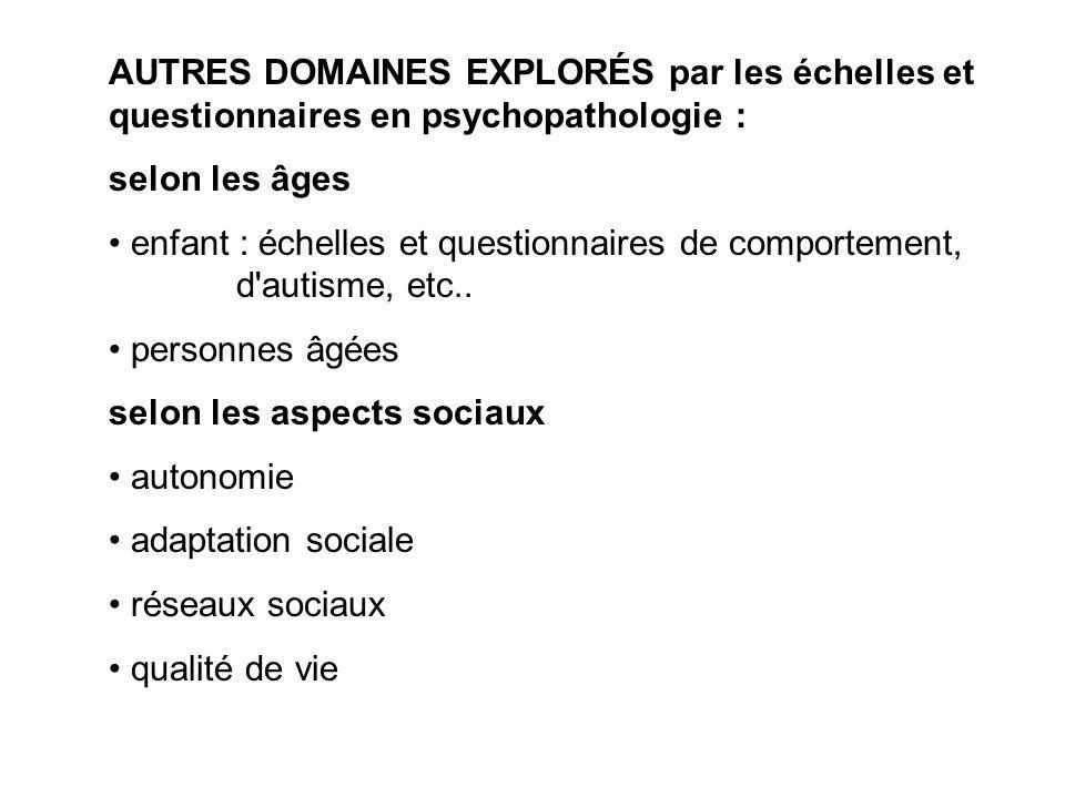 AUTRES DOMAINES EXPLORÉS par les échelles et questionnaires en psychopathologie :