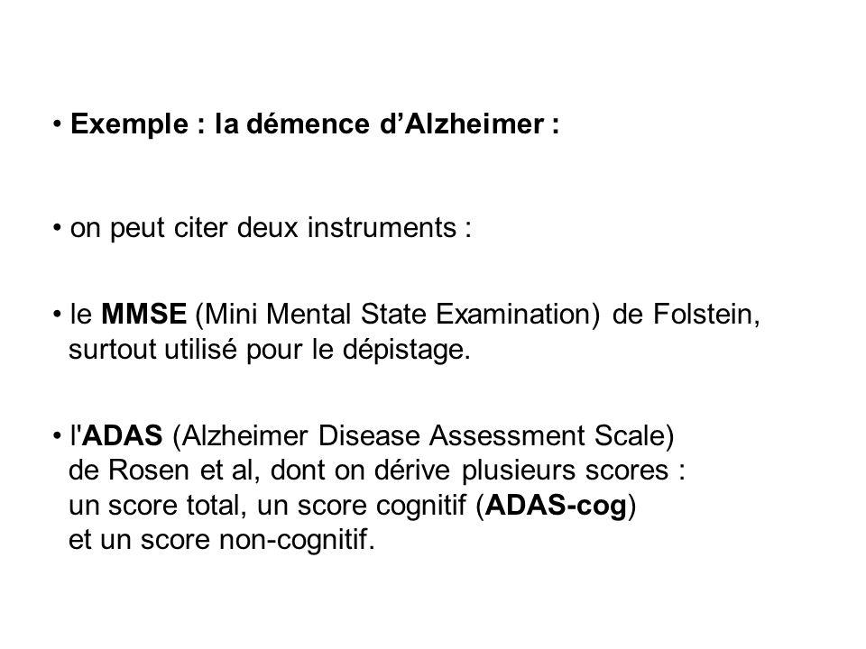 Exemple : la démence d'Alzheimer :