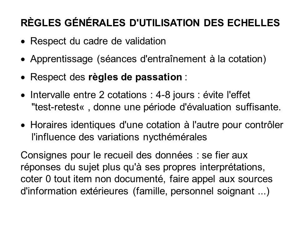 RÈGLES GÉNÉRALES D UTILISATION DES ECHELLES