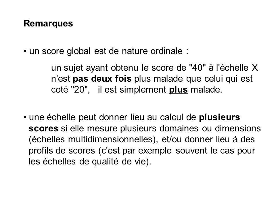 Remarques un score global est de nature ordinale :