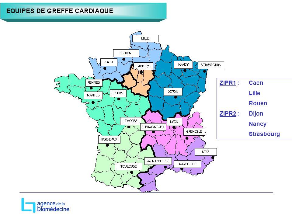 ZIPR1 : Caen Lille Rouen ZIPR2 : Dijon Nancy Strasbourg