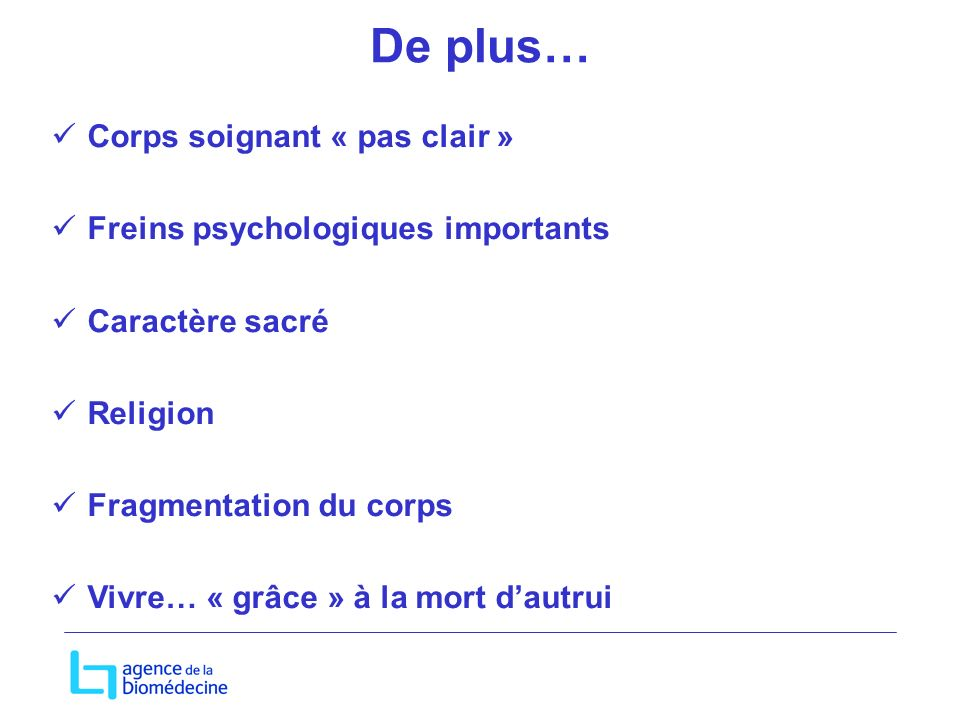 De plus… Corps soignant « pas clair » Freins psychologiques importants