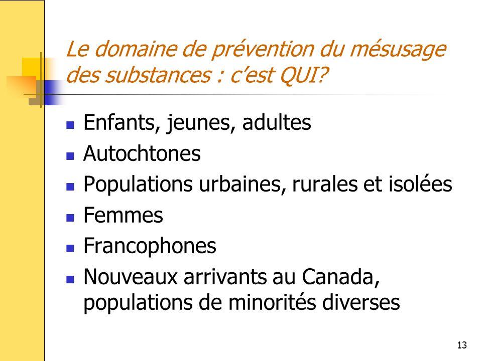 Le domaine de prévention du mésusage des substances : c'est QUI