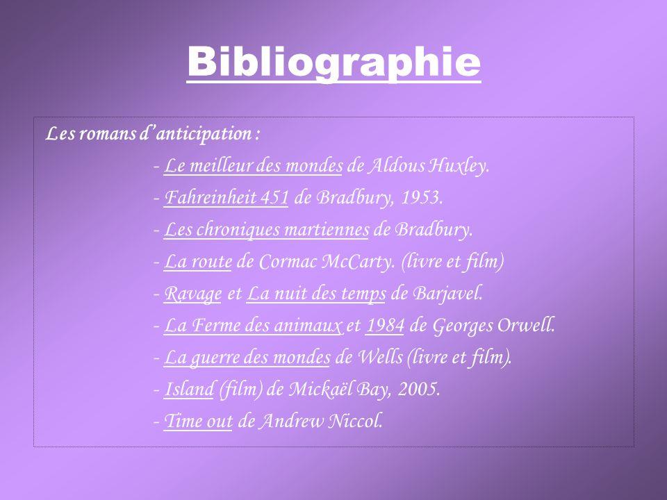 Bibliographie - Le meilleur des mondes de Aldous Huxley.