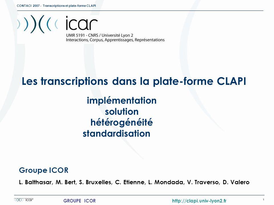 Les transcriptions dans la plate-forme CLAPI