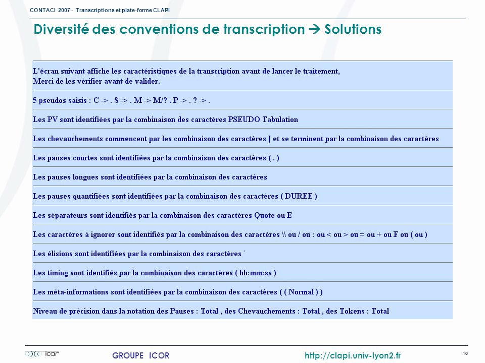 Diversité des conventions de transcription  Solutions