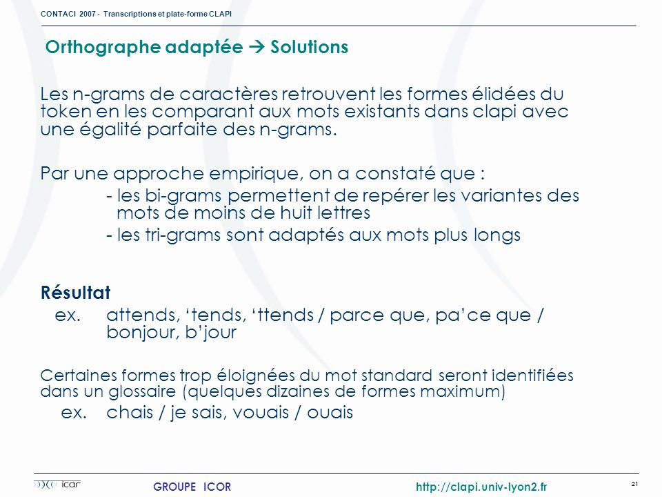 Orthographe adaptée  Solutions