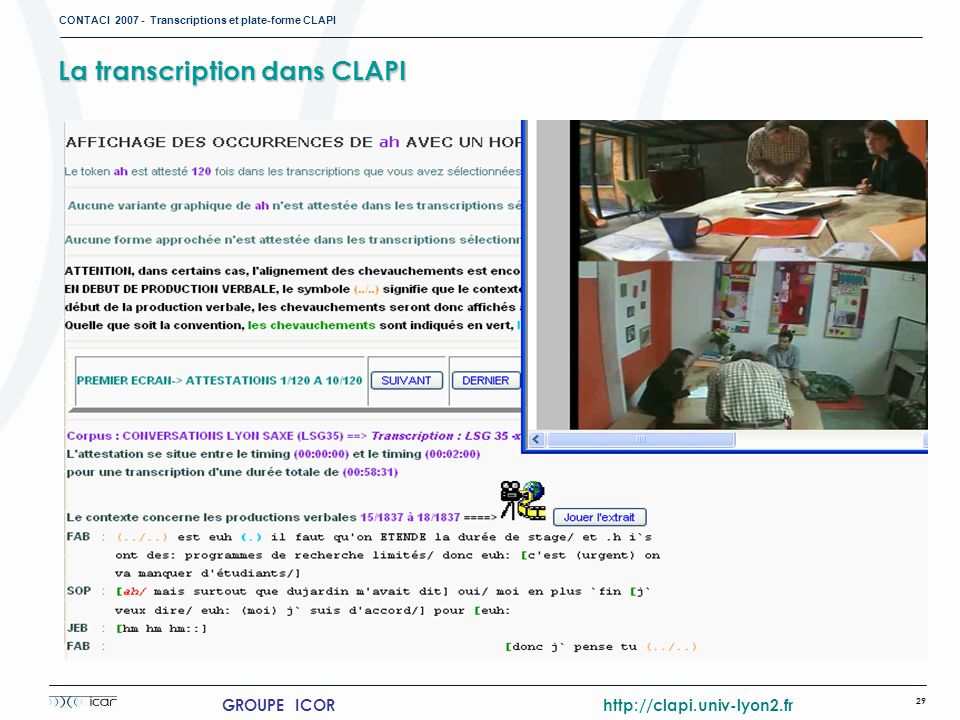 La transcription dans CLAPI