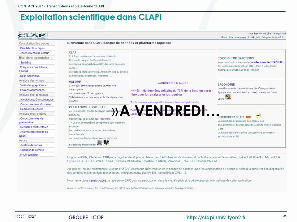 Exploitation scientifique dans CLAPI