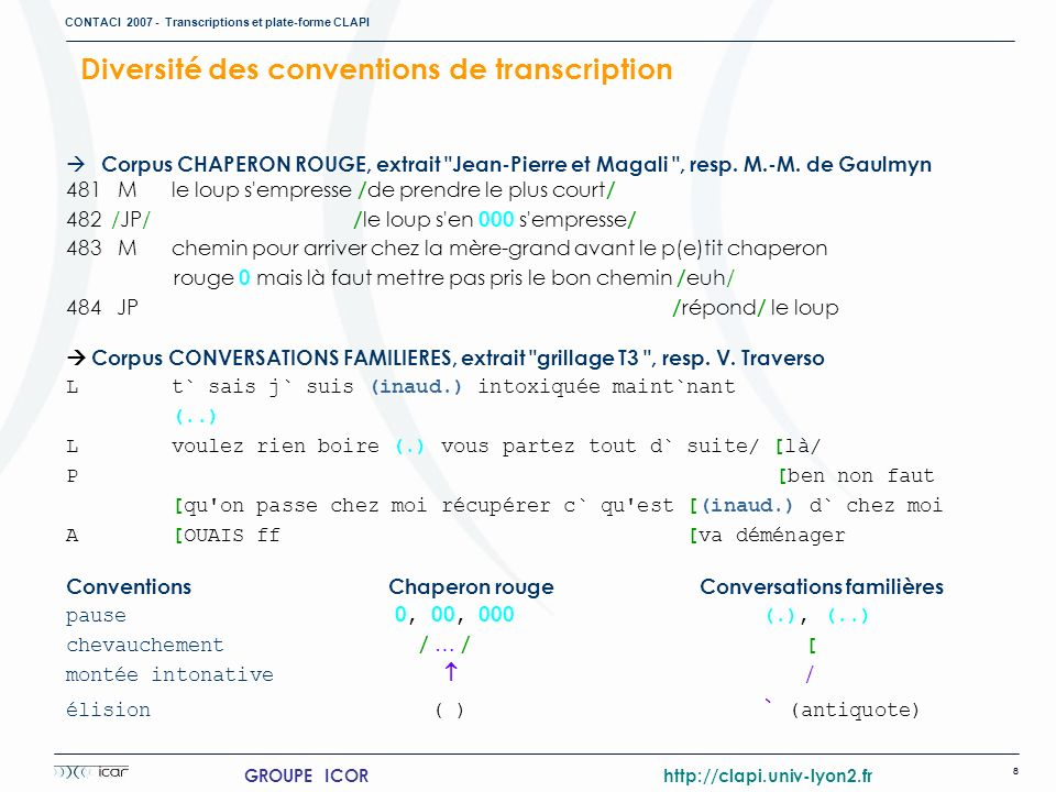Diversité des conventions de transcription
