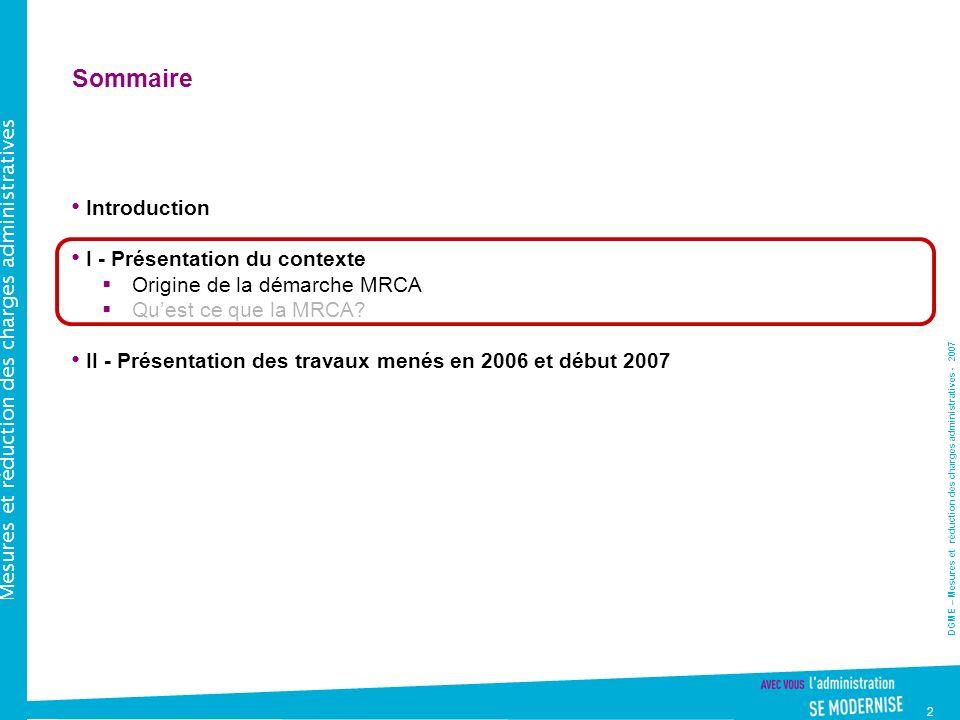 Sommaire Introduction I - Présentation du contexte