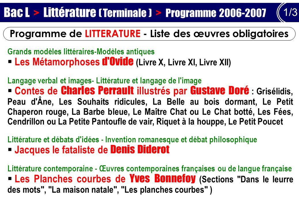 Programme de LITTERATURE - Liste des œuvres obligatoires