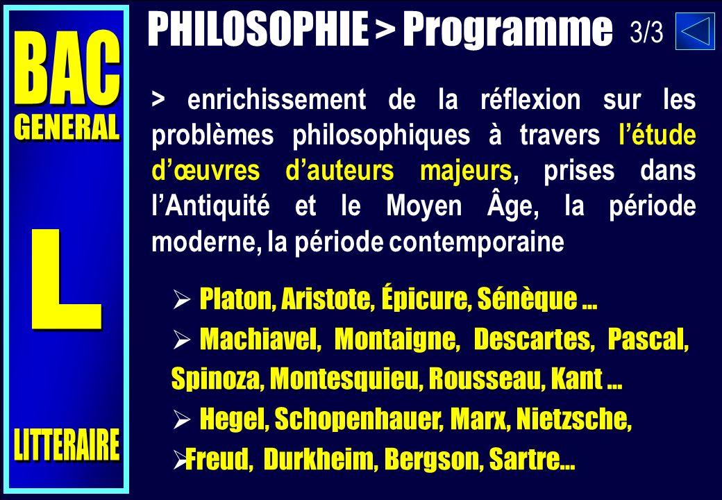 PHILOSOPHIE > Programme