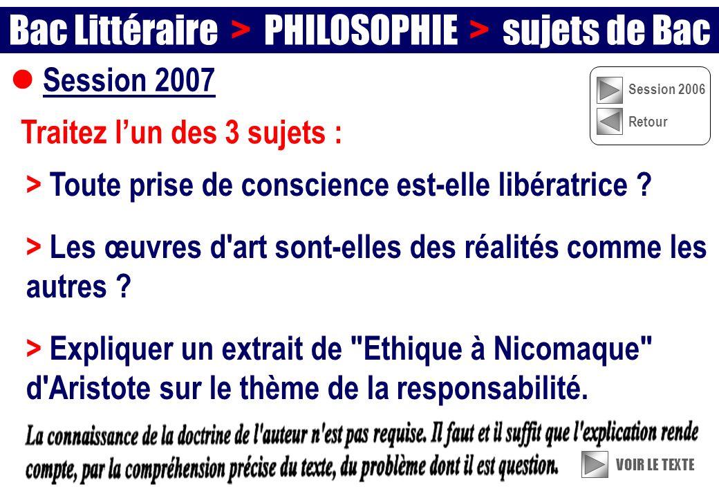 Bac Littéraire > PHILOSOPHIE > sujets de Bac