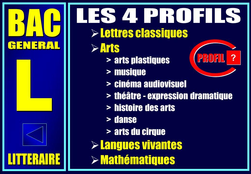 BAC LES 4 PROFILS Lettres classiques Arts GENERAL L Langues vivantes