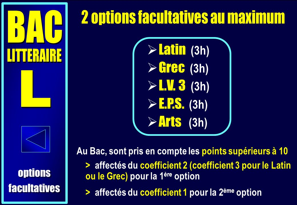 2 options facultatives au maximum