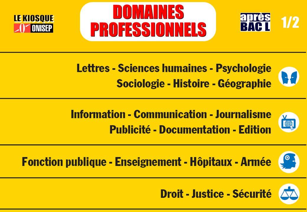 DOMAINES PROFESSIONNELS après 1/2 LE KIOSQUE BAC L