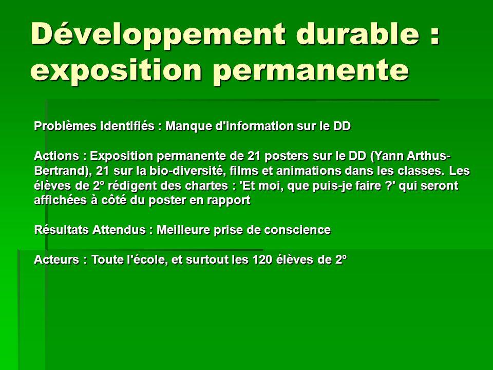 Développement durable : exposition permanente