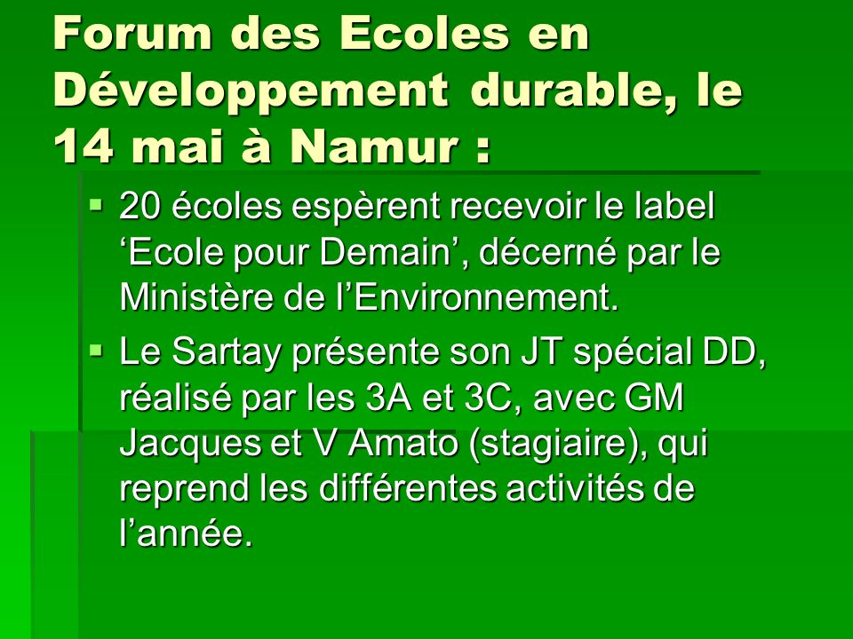 Forum des Ecoles en Développement durable, le 14 mai à Namur :