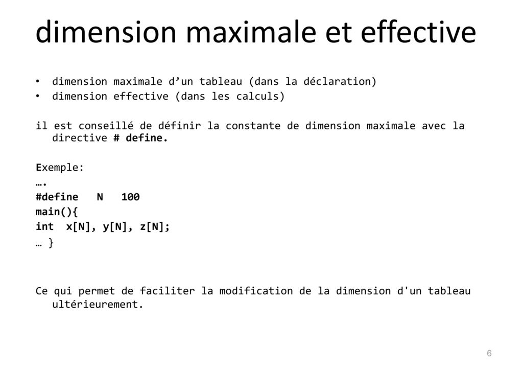 dimension maximale et effective
