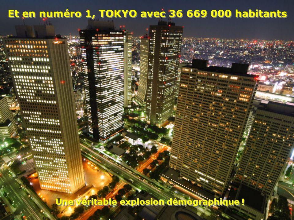 Et en numéro 1, TOKYO avec 36 669 000 habitants