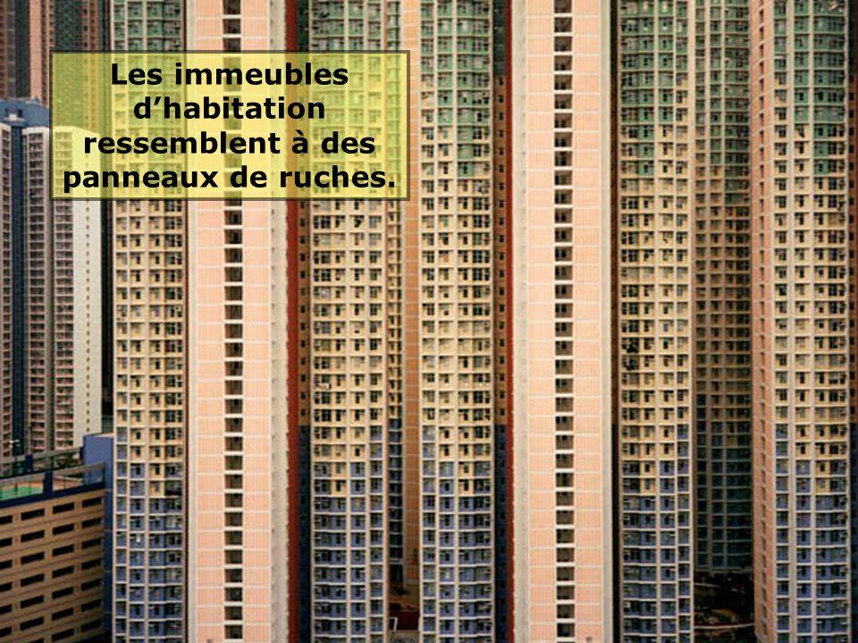 Les immeubles d'habitation ressemblent à des panneaux de ruches.