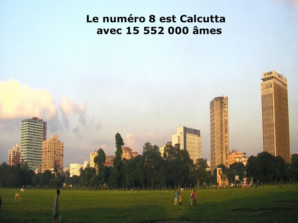 Le numéro 8 est Calcutta avec 15 552 000 âmes
