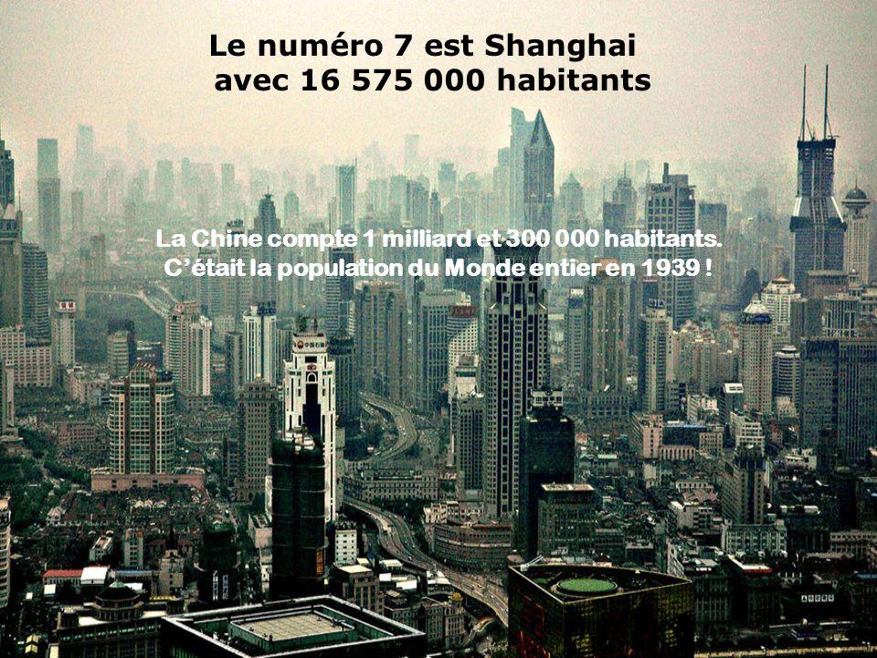 Le numéro 7 est Shanghai avec 16 575 000 habitants