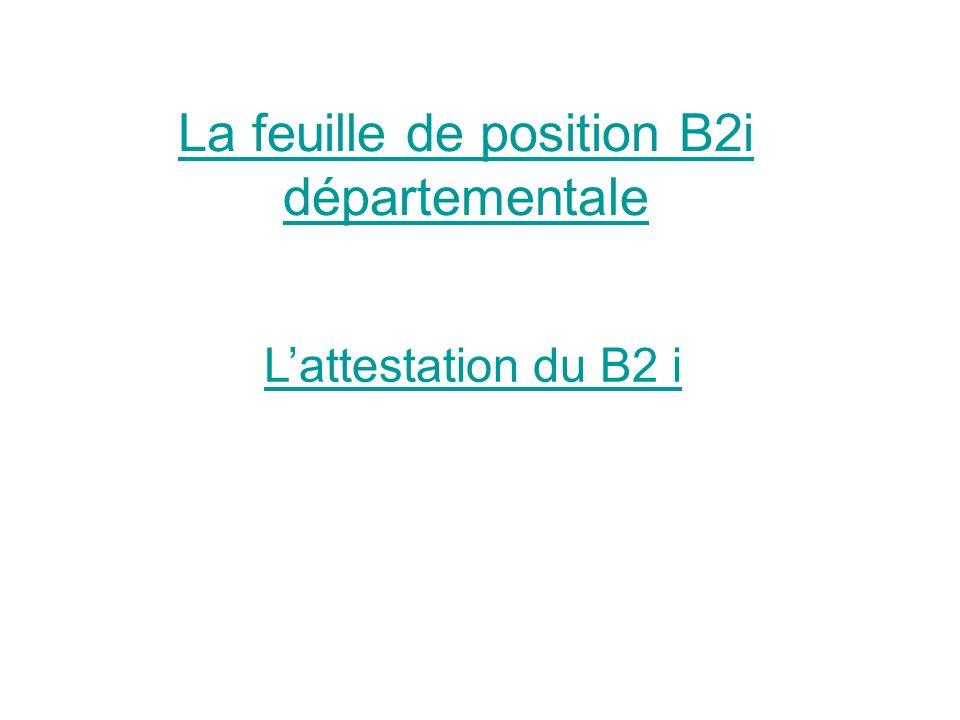 La feuille de position B2i départementale