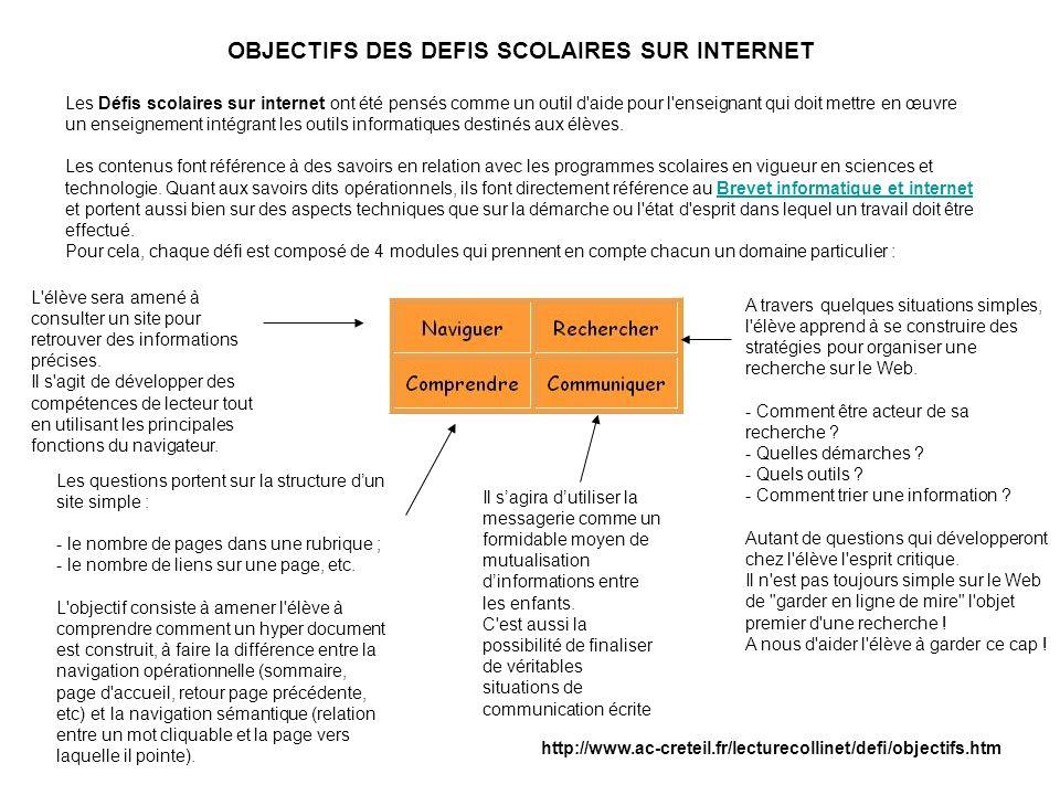 OBJECTIFS DES DEFIS SCOLAIRES SUR INTERNET